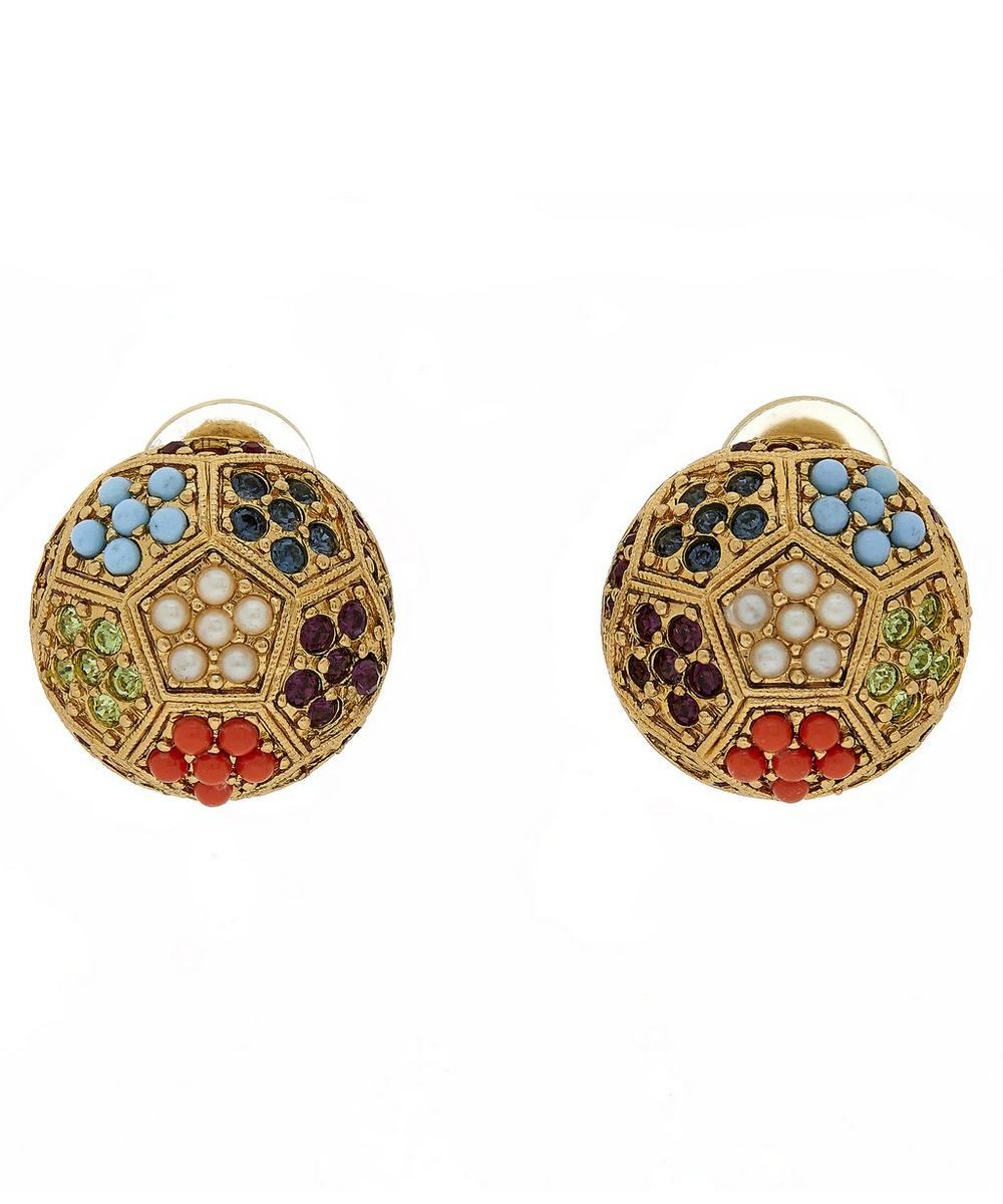 Gold-Plated D'Orlan Round Embellished Clip-On Earrings