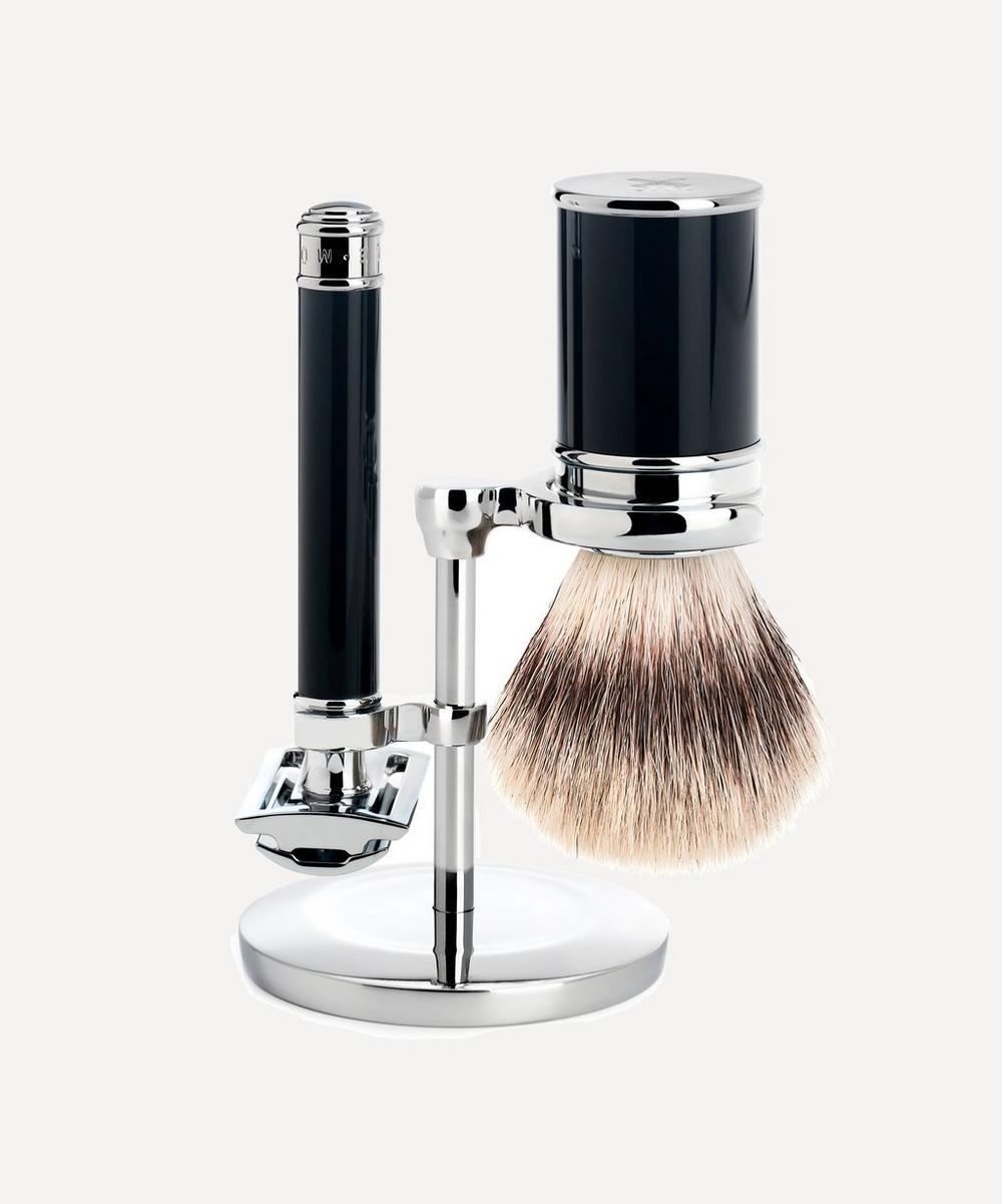 Mle Black Silvertip Fibre Shaving Set