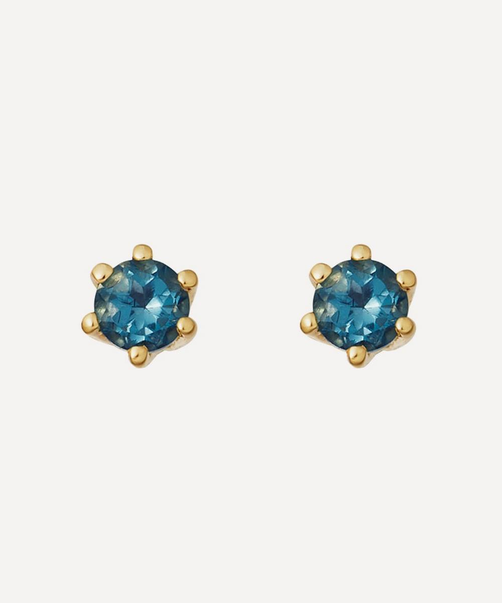 Astley Clarke - Gold Plated Vermeil Silver Linia London Blue Topaz Stud Earrings