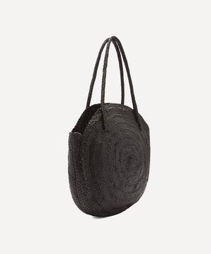Woven Leather Circle Tote Bag