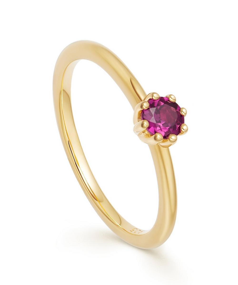 Astley Clarke Gold Vermeil Mini Linia Rhodolite Ring