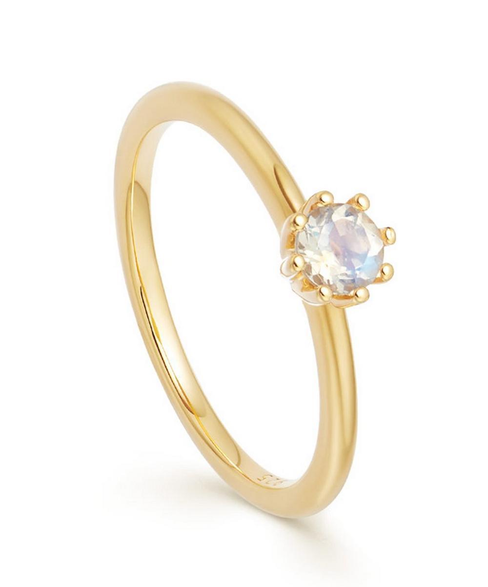 Astley Clarke Gold Vermeil Mini Linia Rainbow Moonstone Ring
