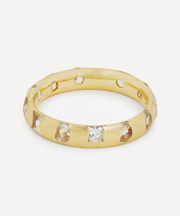 Gold White Sapphire Celeste Ring