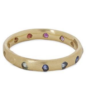 Gold Rainbow Sapphire Celeste Ring
