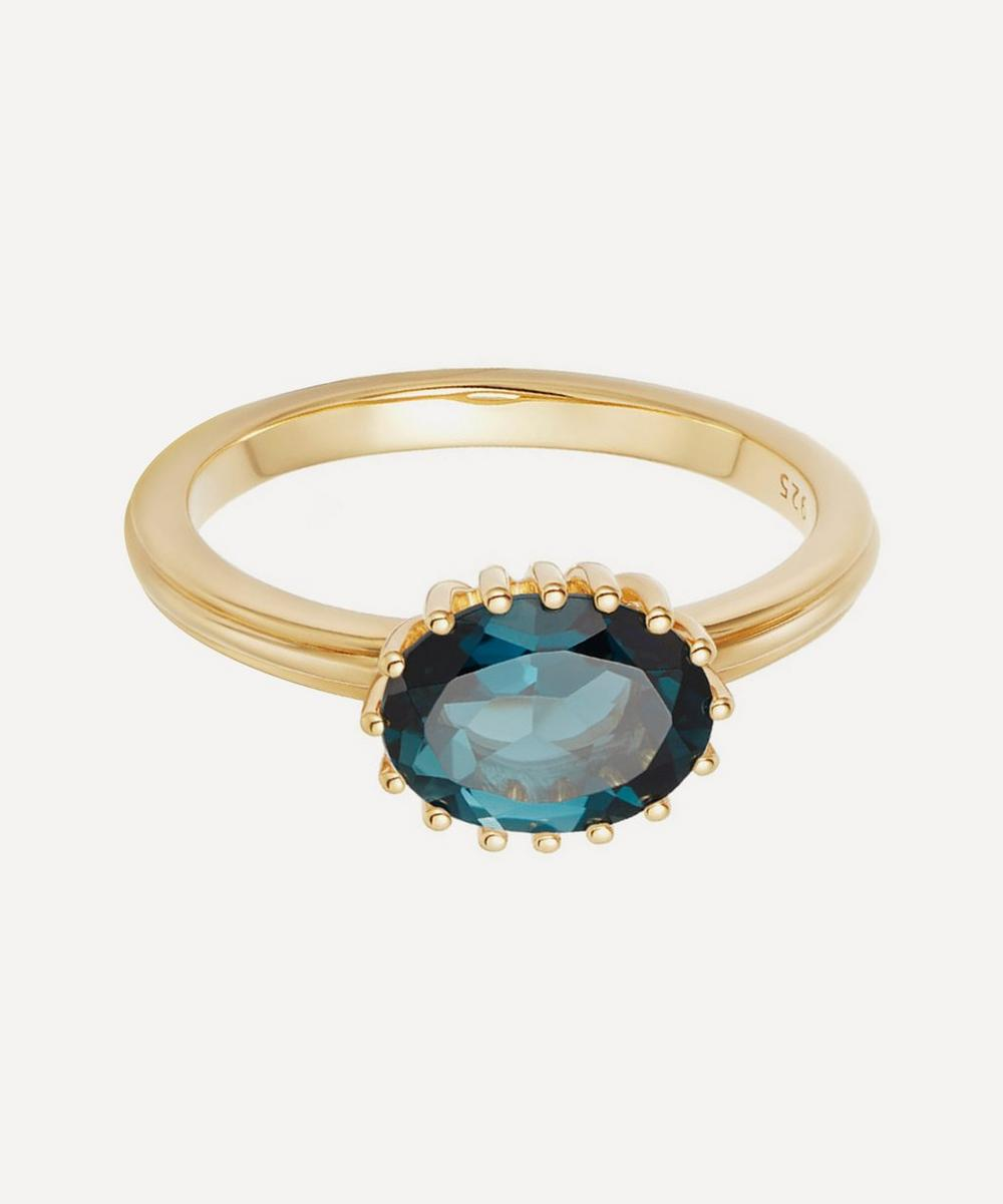 Astley Clarke Gold Vermeil Large Linia London Blue Topaz Ring