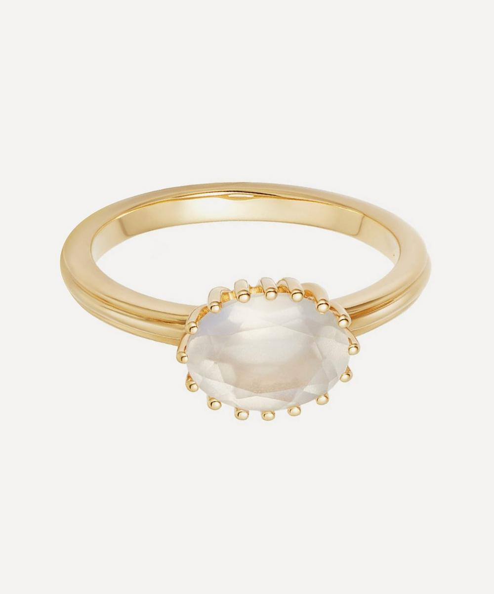 Gold Vermeil Large Linia Rainbow Moonstone Ring