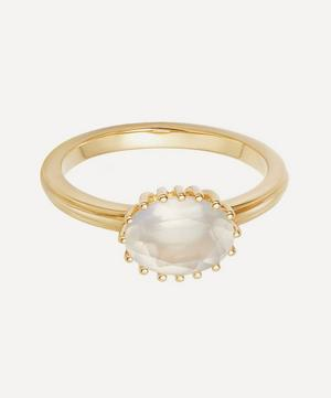 Gold Plated Vermeil Silver Large Linia Rainbow Moonstone Ring