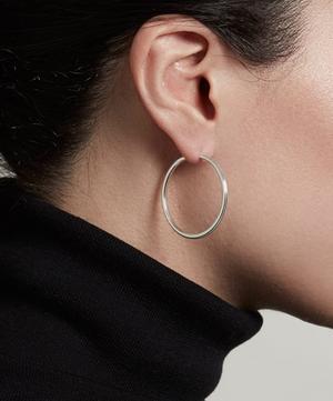 Silver Large Linia Hoop Earrings