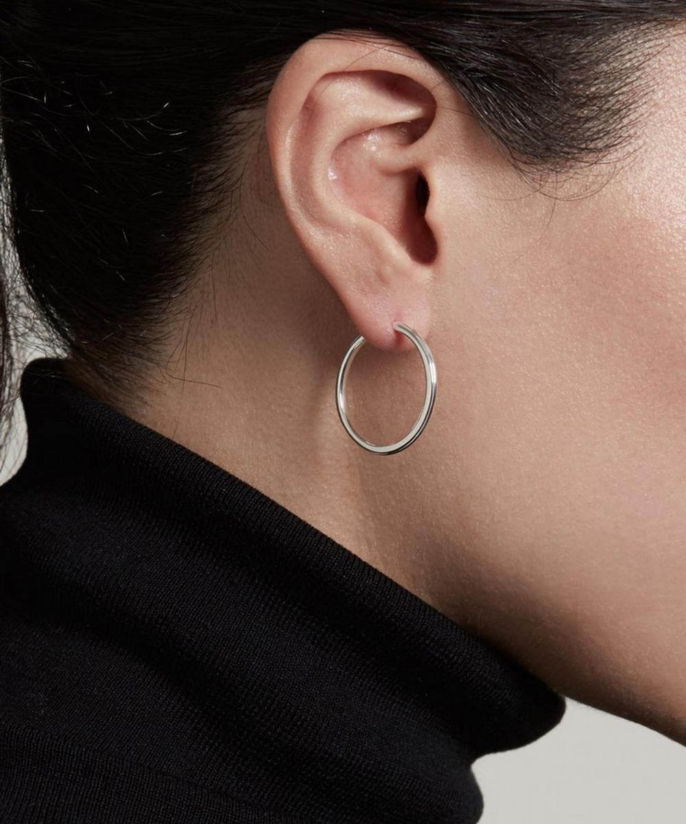 Silver Medium Linia Hoop Earrings