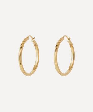 Gold Plated Vermeil Silver Medium Linia Hoop Earrings