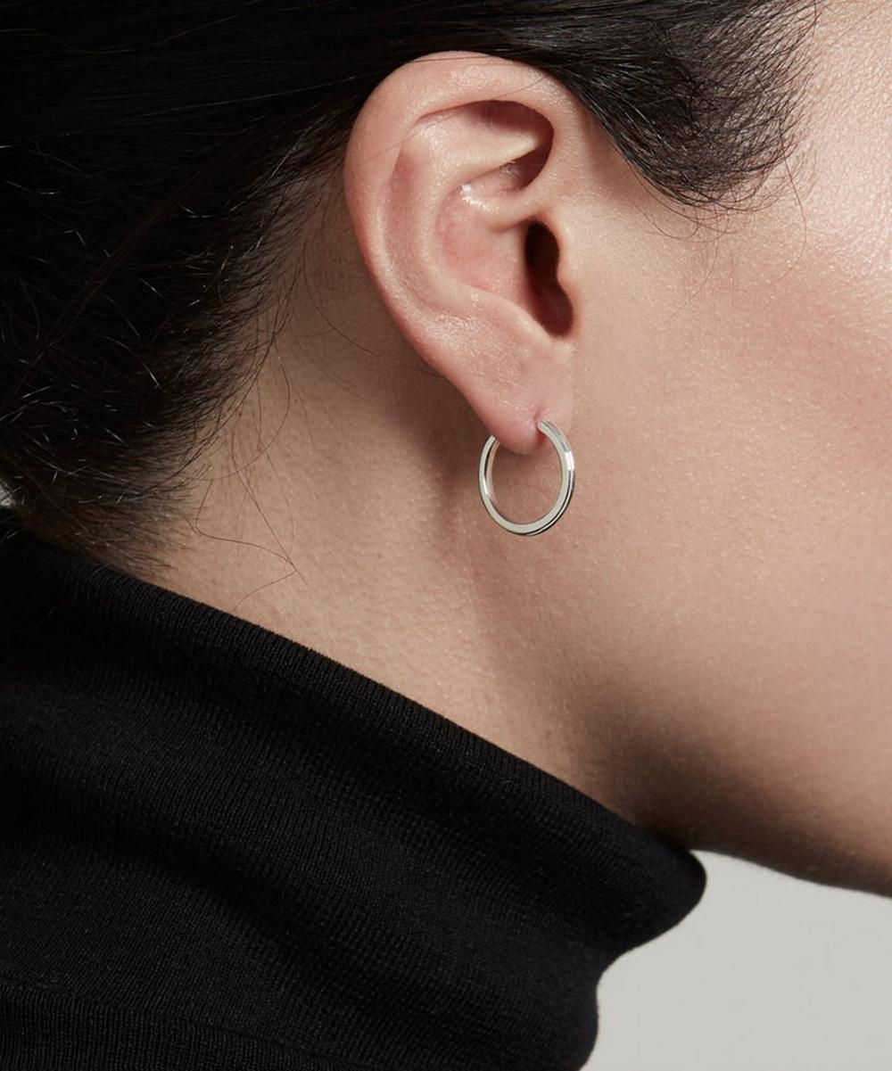 Silver Small Linia Hoop Earrings