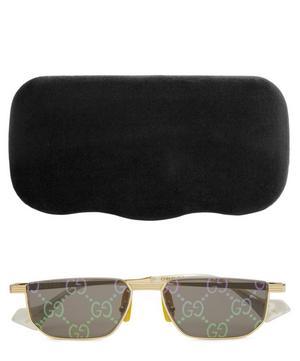 Holographic Rectangle-Frame Metal Sunglasses