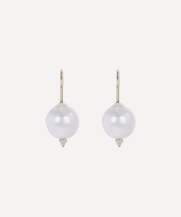 Mizuki - 14ct Gold Small Pearl and Diamond Drop Earrings