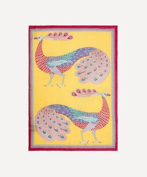 Peacock Garden Linen Tea Towel