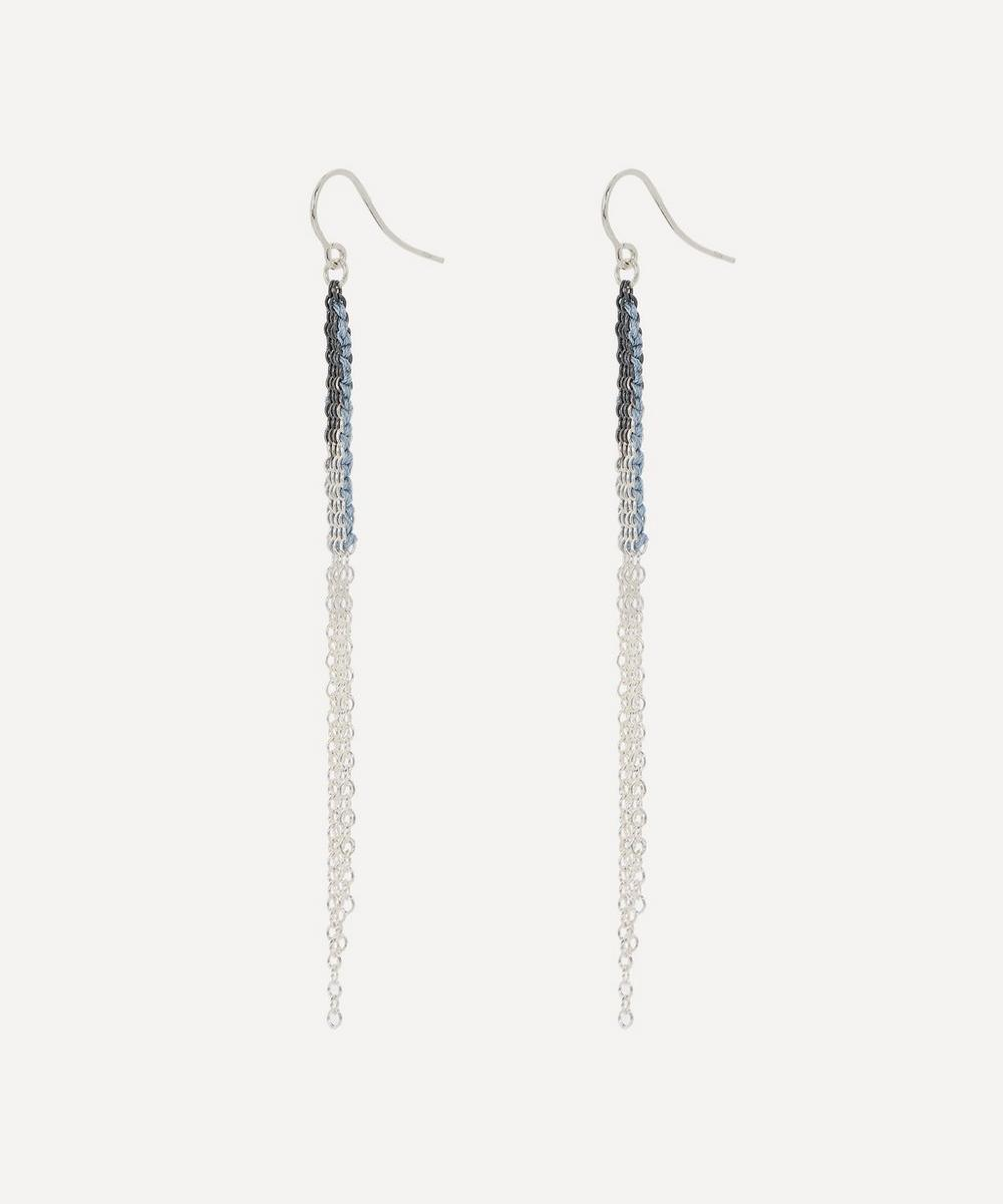 Silver Silk Chain Drop Earrings