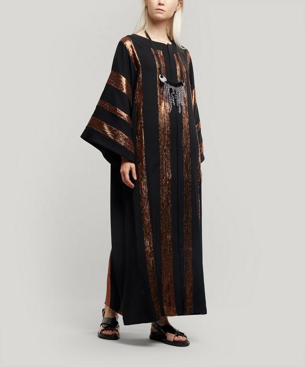 Metallic Stripe Kaftan Maxi-Dress