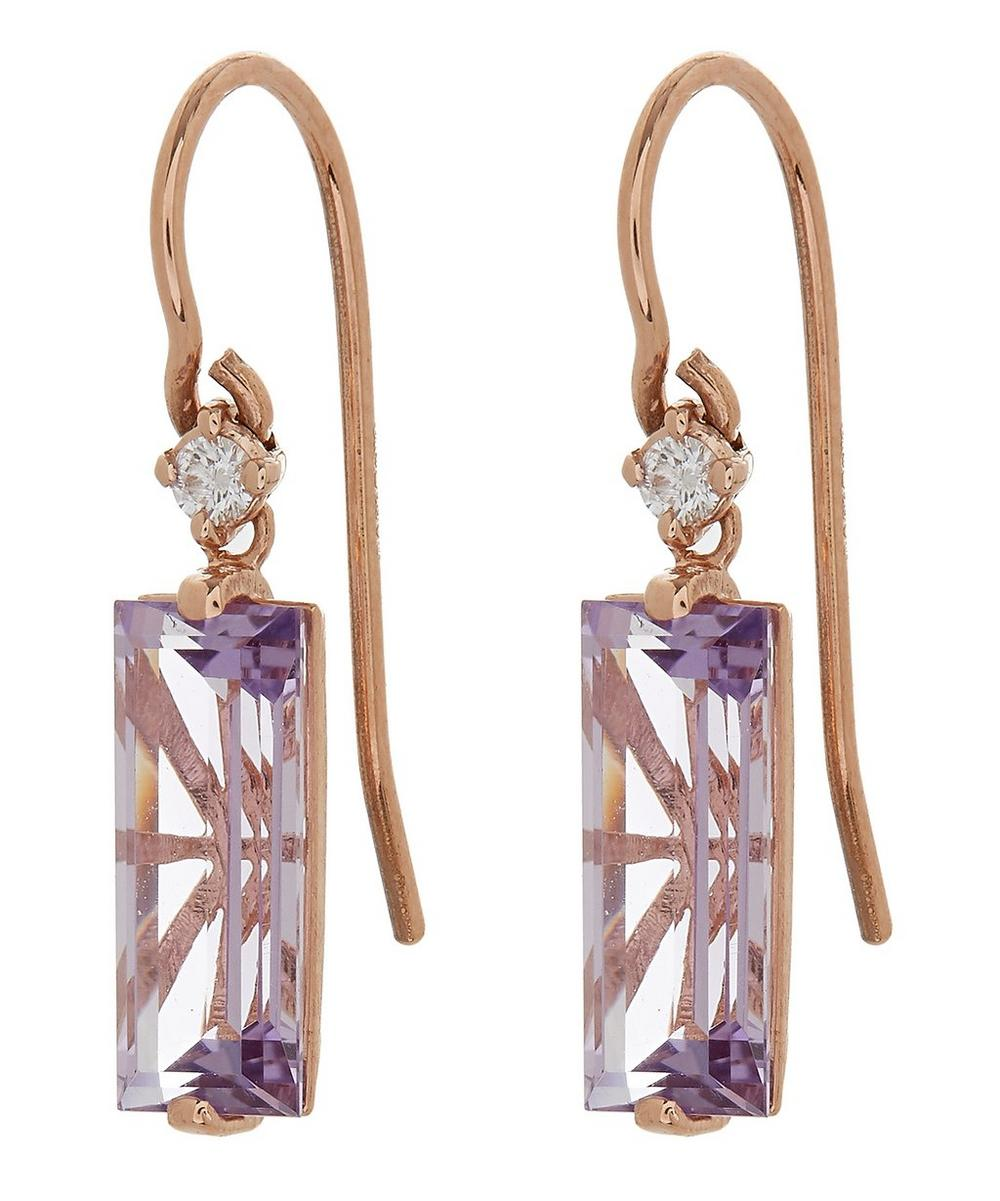 Rose Gold Long Rose De France Baguette Drop Earrings