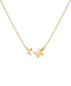 Gold Vermeil Bijou Double Star Pendant Necklace