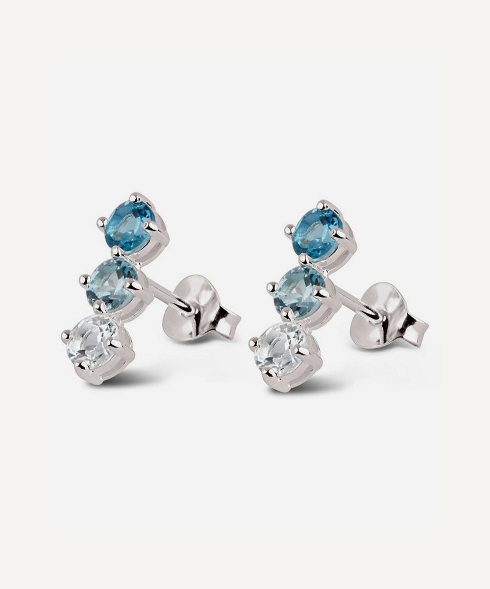 Silver Gem Drop Trilogy Topaz Bar Stud Earrings