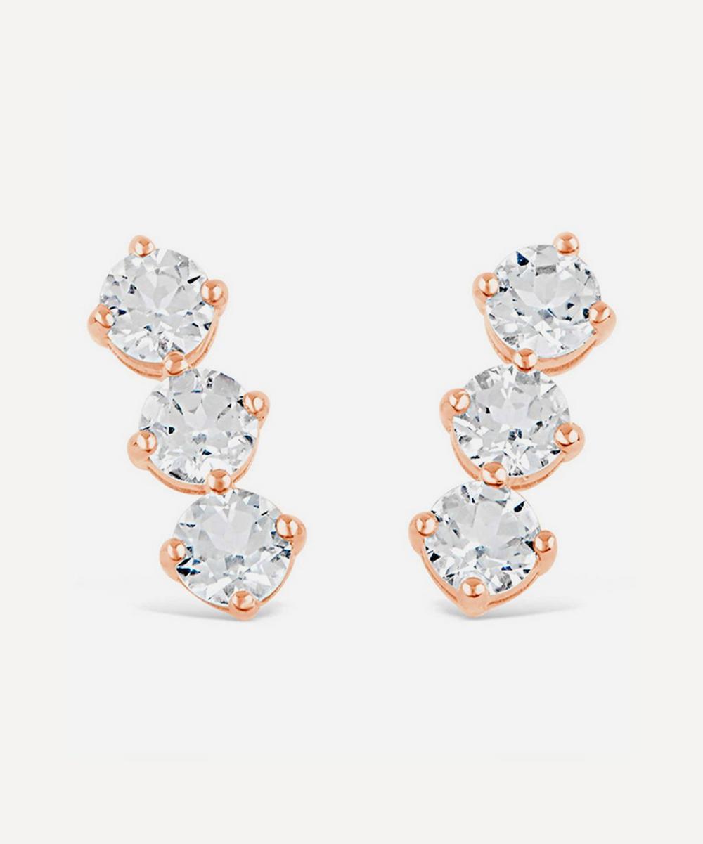 Rose Gold Vermeil Gem Drop Trilogy White Topaz Bar Stud Earrings