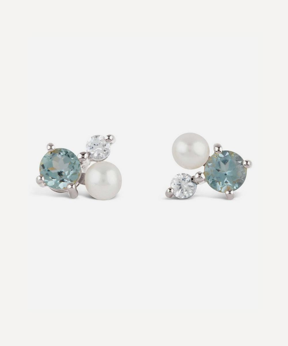 Silver Gem Drop Trilogy Topaz and Pearl Stud Earrings