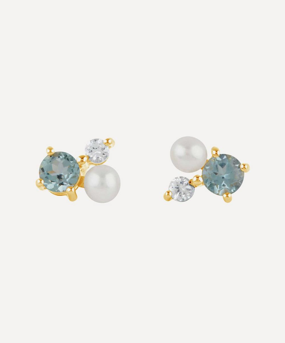 Gold Vermeil Gem Drop Trilogy Topaz and Pearl Stud Earrings