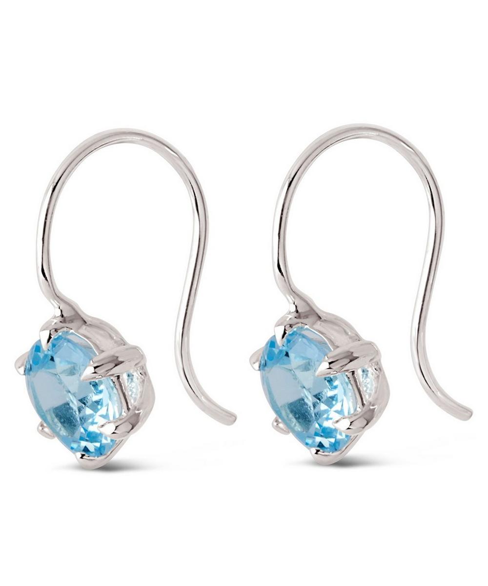 Silver Gem Drop Sky Blue Topaz Petal Charm Earrings
