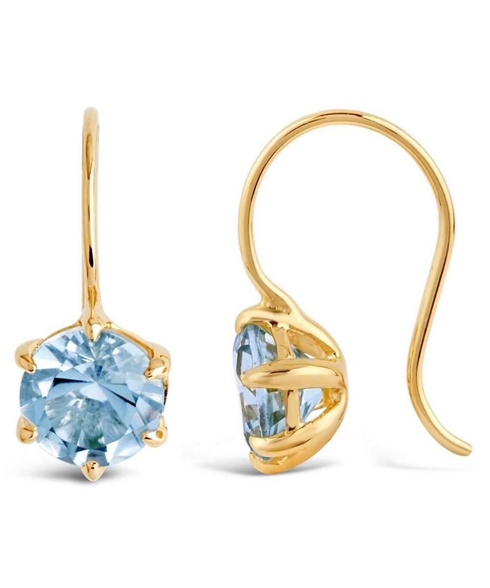 Gold Plated Vermeil Silver Gem Drop Sky Blue Topaz Petal Charm Earrings