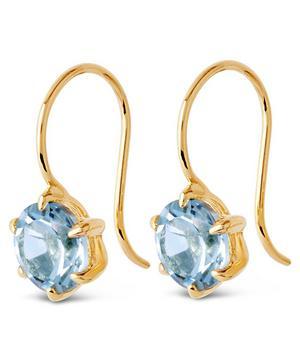 Gold Vermeil Gem Drop Sky Blue Topaz Petal Charm Earrings