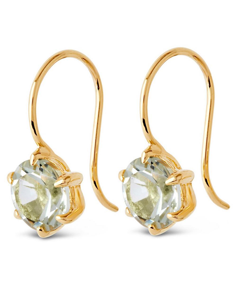 Gold Vermeil Gem Drop Green Amethyst Petal Charm Earrings