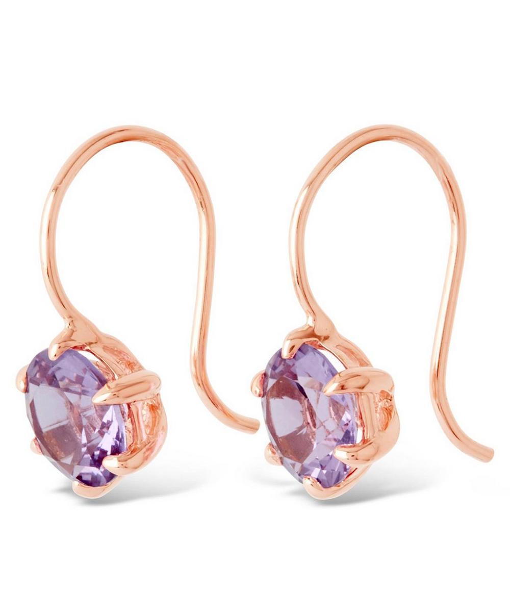 Rose Gold Gem Drop Rose de France Petal Charm Earrings