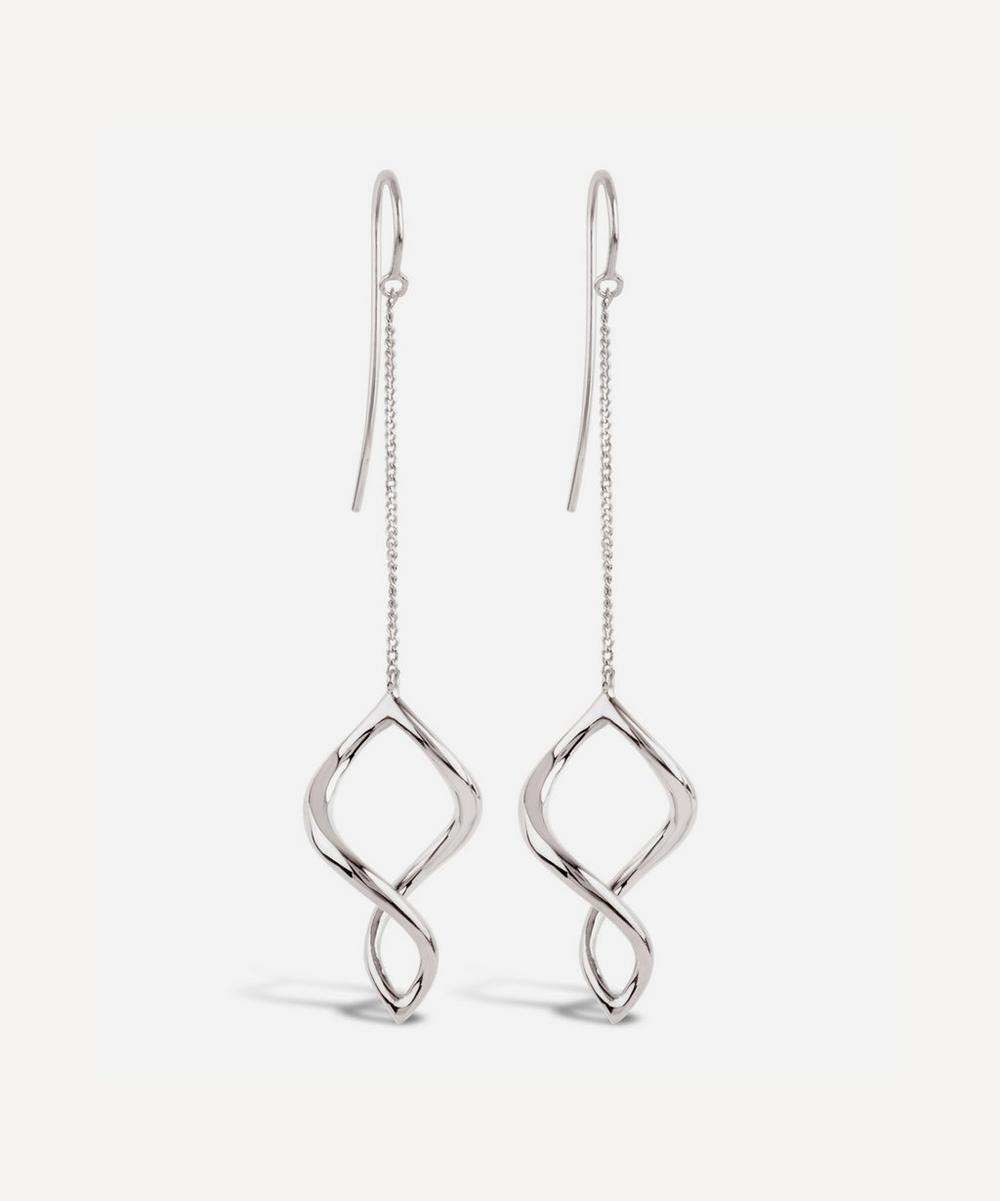 Silver Twist Small Chain Drop Earrings
