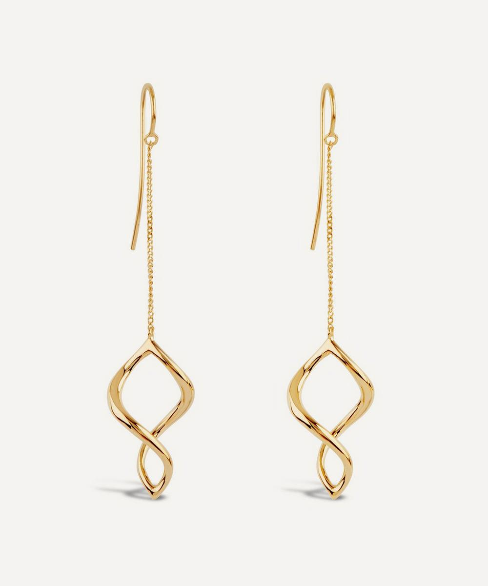 Gold Vermeil Twist Small Chain Drop Earrings