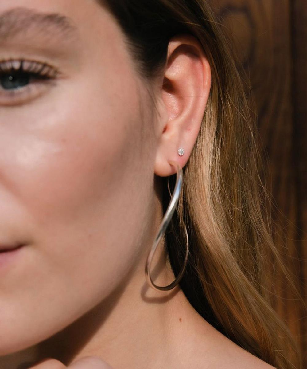 Silver Wave XL Hoop Earrings