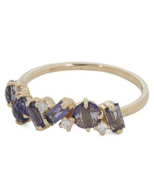 Gold Iolite and Diamond Ring
