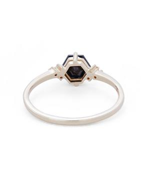 Gold Hexagon Cut Black Spinel and Diamond Ring
