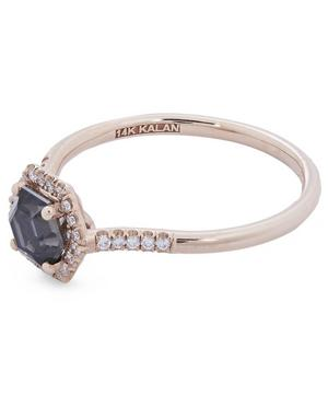 Rose Gold Hexagon Cut Black Night Quartz and Diamond Pavé Ring