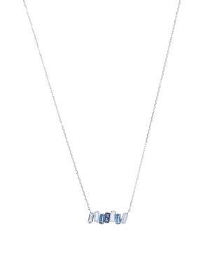 White Gold Blue Topaz Baguette Bar Pendant Necklace