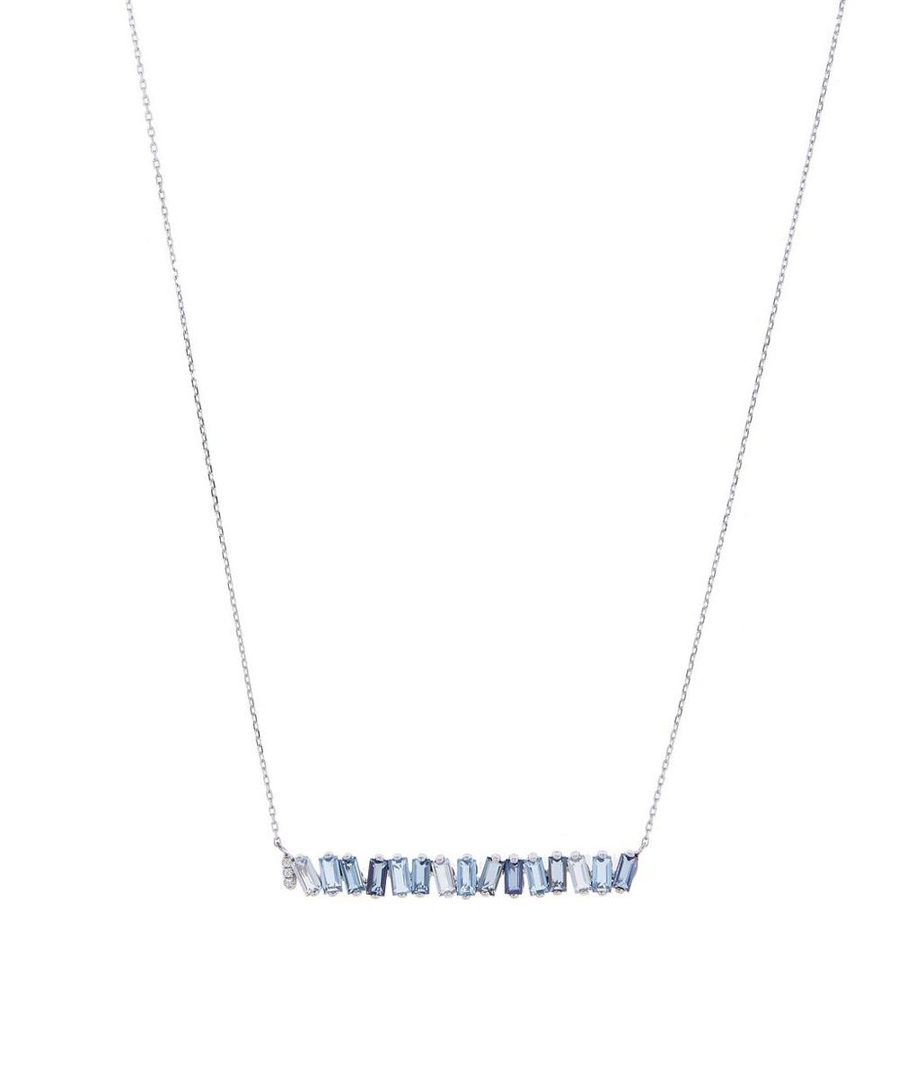 White Gold Blue Topaz and Diamond Long Baguette Bar Pendant Necklace