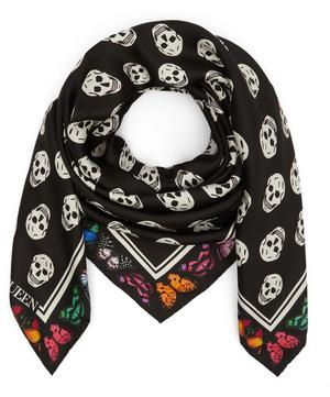 Skull and Butterfly Silk Biker Scarf