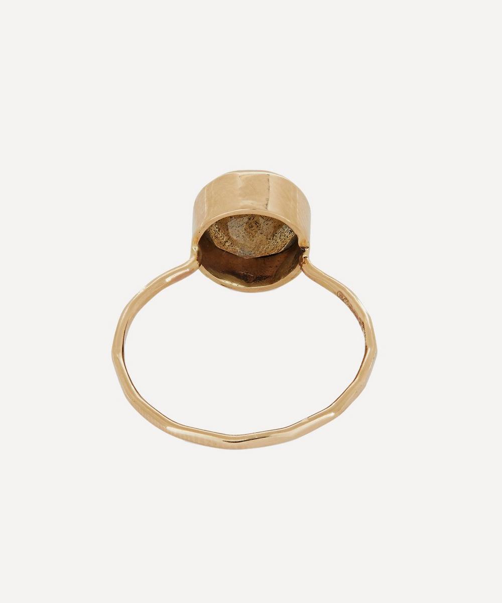 Gold Rose Cut Labradorite Ring