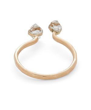 Gold Herkimer Diamond Open Ring