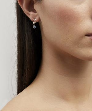 Gold Flat Circle Labradorite Drop Earrings