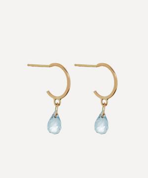 Gold Aquamarine Tiny Hoop Earrings