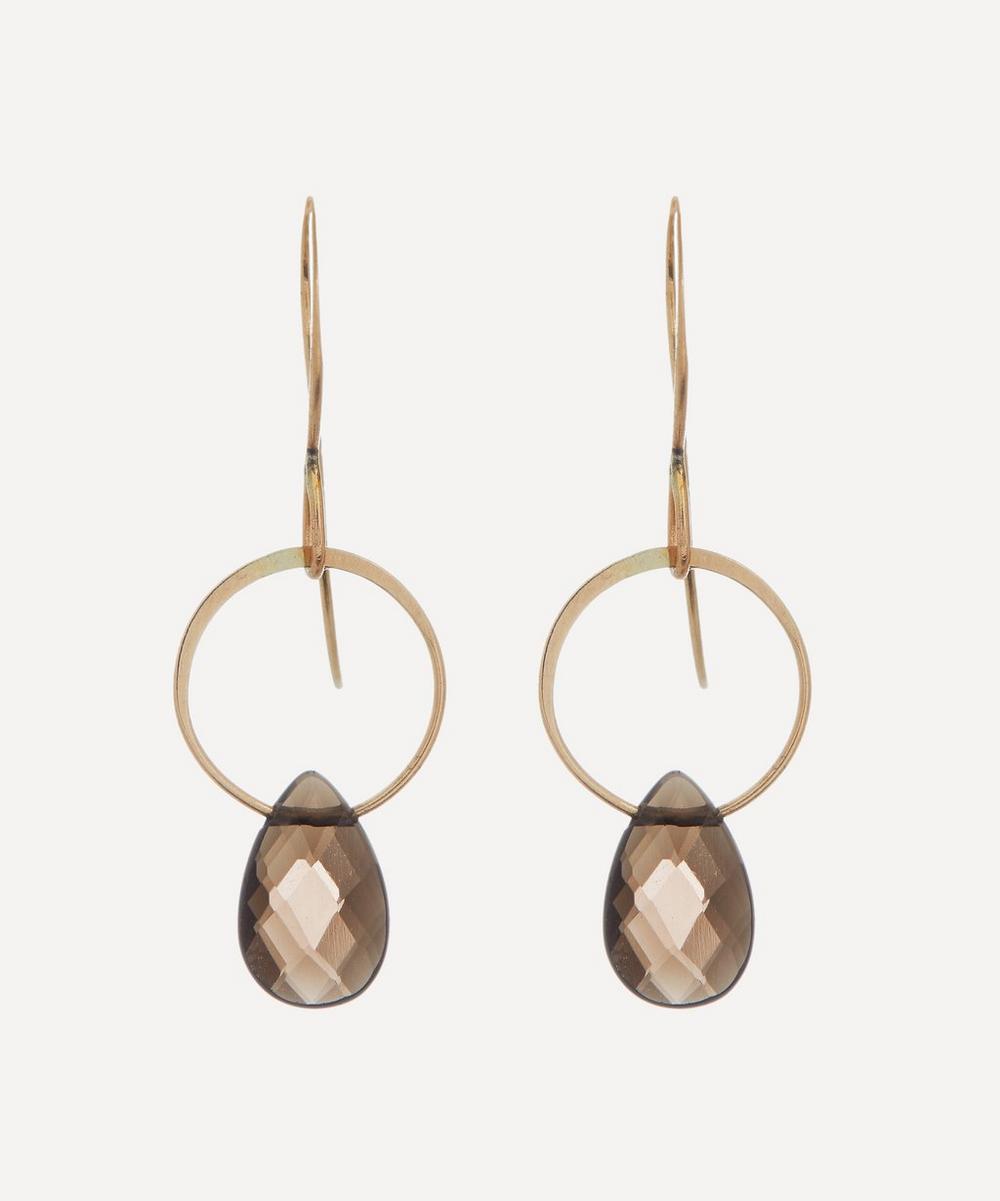 Melissa Joy Manning - 14ct Gold Smoky Quartz Single Drop Earrings