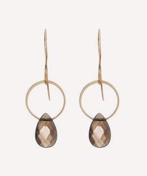 Gold Smoky Quartz Single Drop Earrings