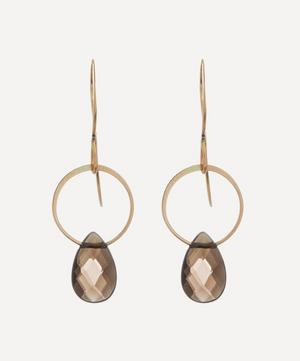 14ct Gold Smoky Quartz Single Drop Earrings