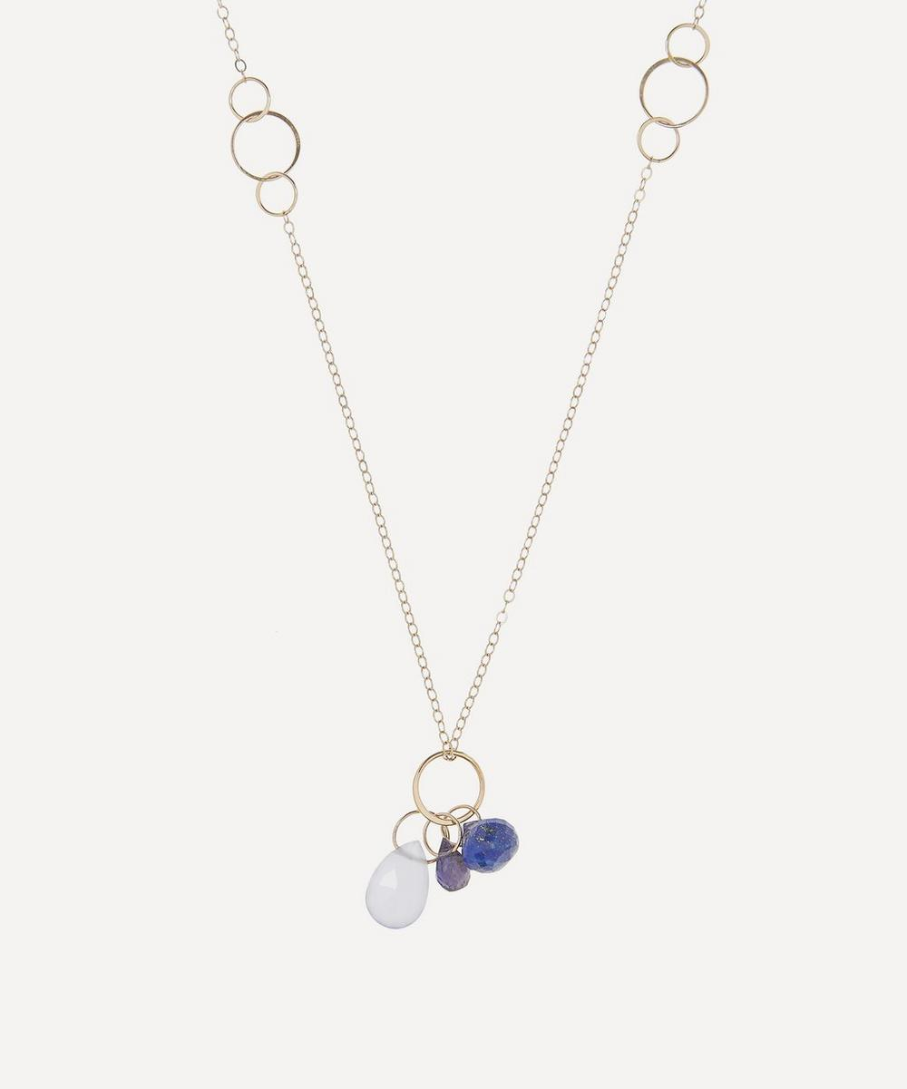 Gold Multi-Stone Triple Drop Pendant Necklace