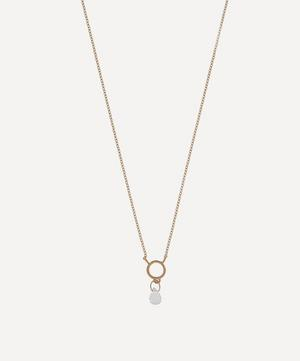 Gold Tiny Circle Aquamarine Pendant Necklace