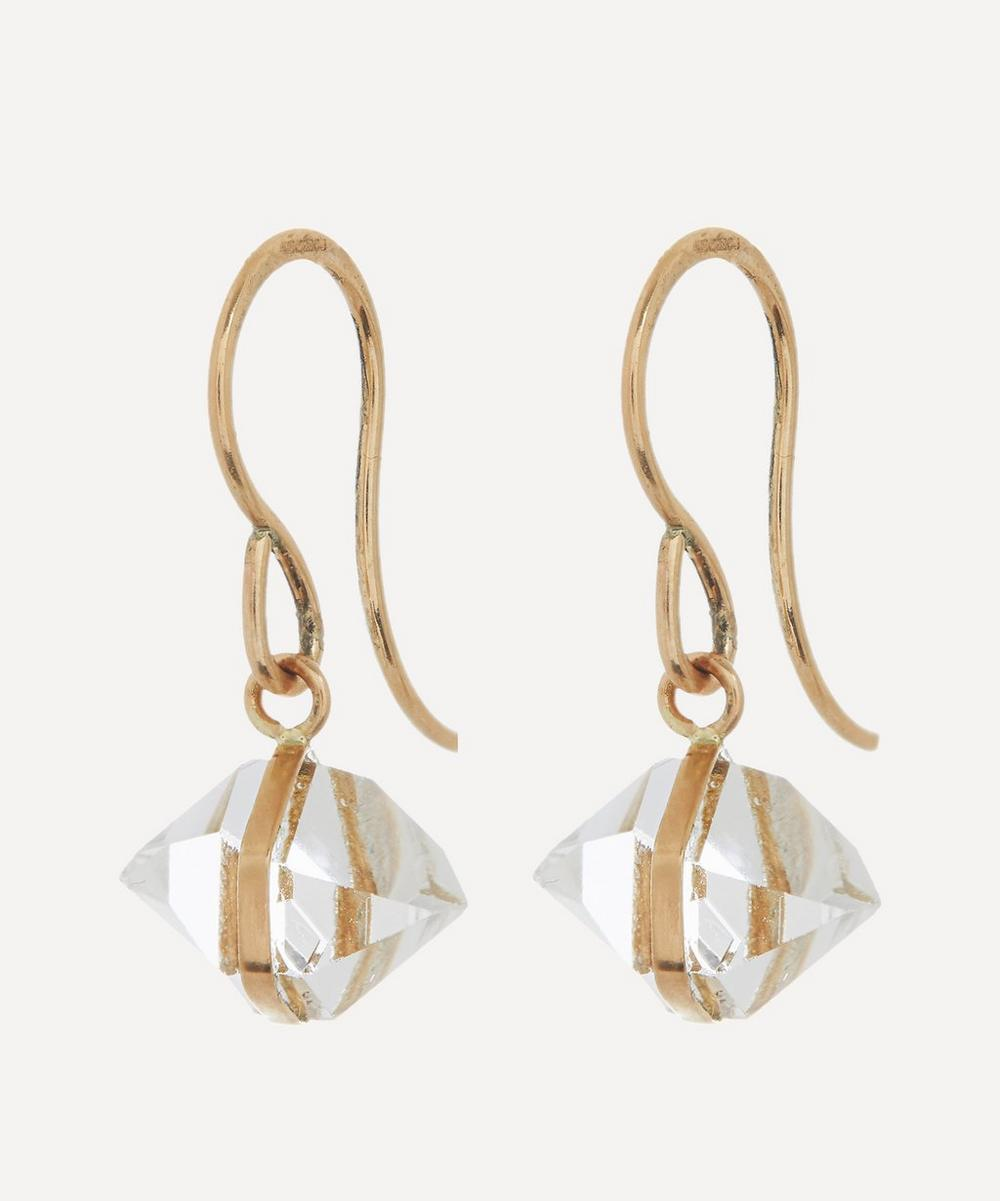 Gold Bezel Wrap Herkimer Diamond Drop Earrings